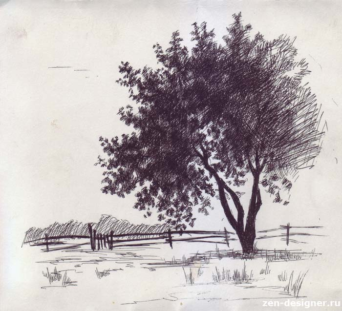 рисунки деревья тушь