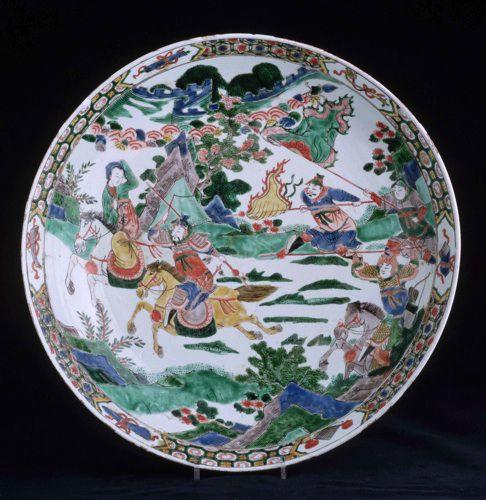 Фарфоровая тарелка с росписью по мотивам китайской классики