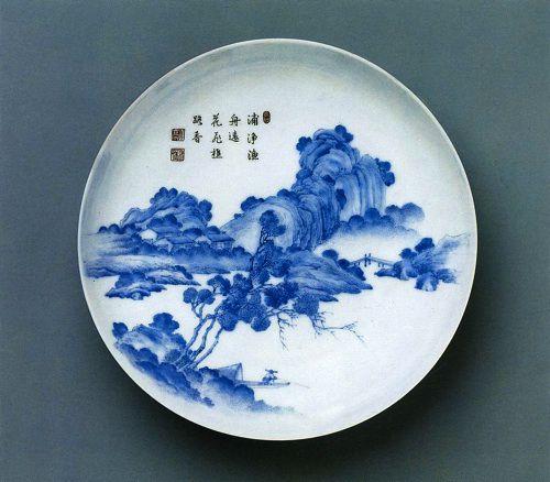 Традиционные китайские сюжеты в росписи на фарфоровой тарелке