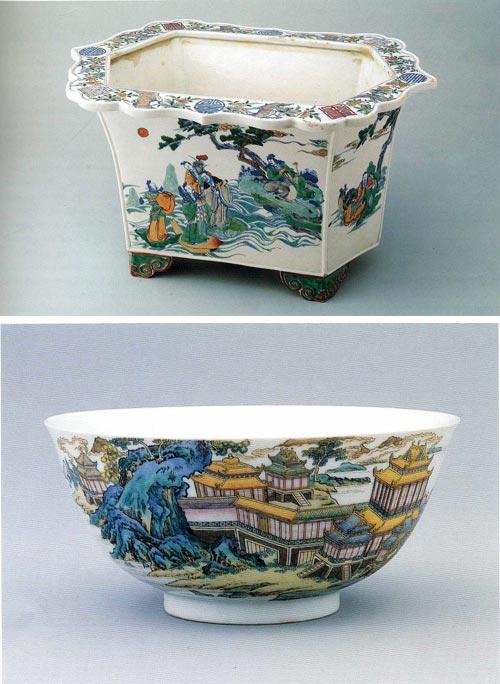 Посуда из фарфора с традиционной сюжетной для Китая росписью