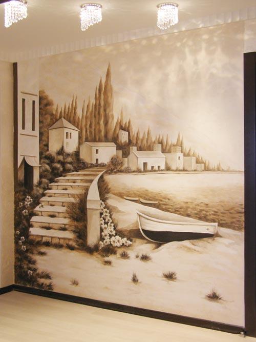Роспись на стенах  техника