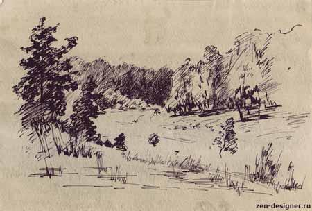 Пейзажи пером тушью гелевой ручкой
