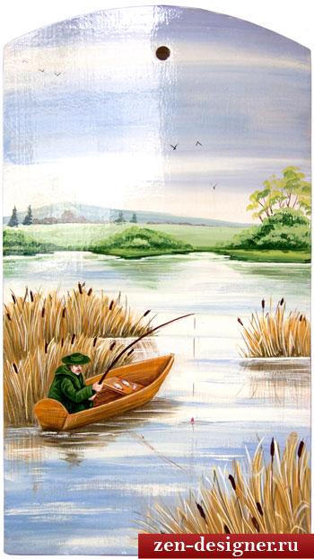 Декоративная картина рыбак с удочкой