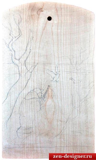 Подготовительный рисунок карандашом