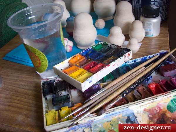 Материалы для росписи матрешки