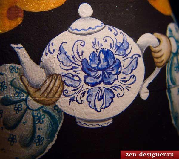 Роспись чайника под гжель
