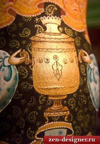 Роспись матрешки: блики на самоваре