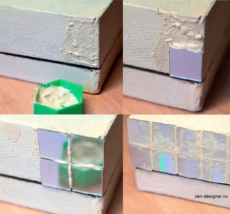 Инкрустация шкатулки компакт-дисками