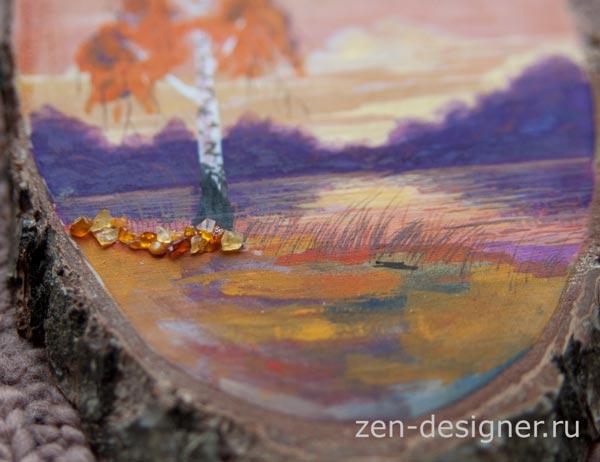 Инкрустация янтарной крошкой