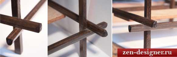 Крестовые соединения деталей каркаса самодельного светильника
